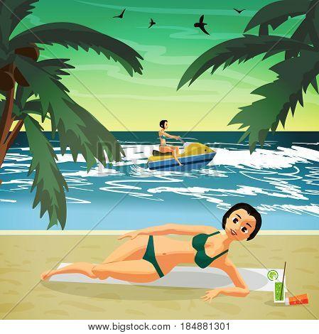 Woman sunbathes on the beach on sand. Sea landscape summer beach scooter jet in the distance. Vector flat cartoon illustration