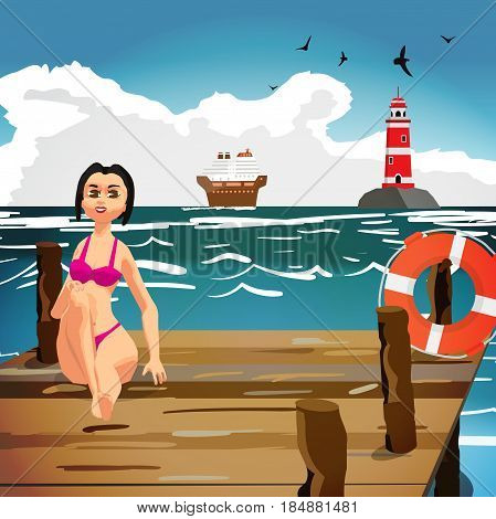 Young woman in a bathing suit is sitting on a wooden pier on the beach. Seascape with a cruise liner and a lighthouse.