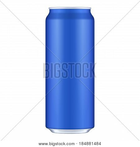 Blue Metal Aluminum Beverage Drink Can 500ml. Mockup Template Ready For Your Design. Isolated On White Background. Product Packing. Vector EPS10 Product Packing Vector EPS10