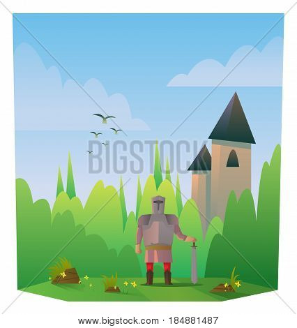 Digital vector abstract cartoony warrior fighter with metal armor and sword, castle, over blue background with clouds, flat triangle style