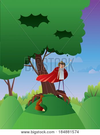 Digital vector abstract cartoony happy young boy on a big green tree, hand up in the air, over blue background with clouds, flat triangle style