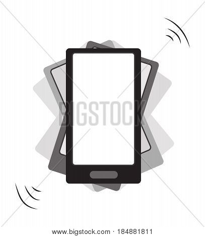 The smartphone rings with vibration. Vector illustration
