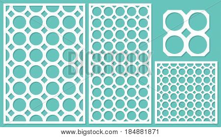 Set decorative panels-laser cutting. Round geometric pattern allover. The ratio 2:3, 1:2, 1:1, seamless. Vector illustration.