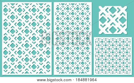 Set of decorative panels laser cutting. a wooden panel. Modern elegant square diagonal geometric pattern allover. The ratio 2:3, 1:2, 1:1. Vector illustration.