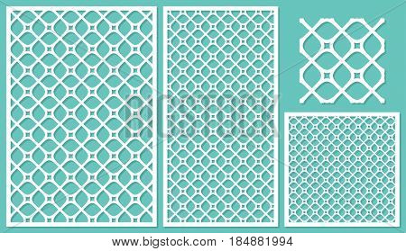 Set decorative panels-laser cutting. Square diagonal geometric pattern allover. The ratio 2:3, 1:2, 1:1, seamless. Vector illustration.