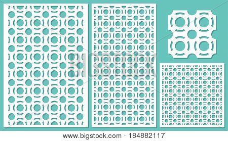 Set of decorative panels laser cutting. a wooden panel. Modern elegant round geometric pattern allover. The ratio 2:3, 1:2, 1:1, seamless. Vector illustration.