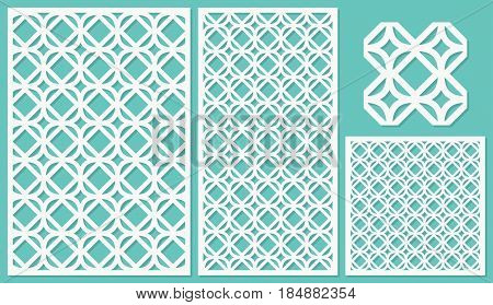 Set of decorative panels laser cutting. a wooden panel. Modern and elegant linear repeating pattern in square shapes. The ratio 2:3, 1:2, 1:1, seamless. Vector illustration.