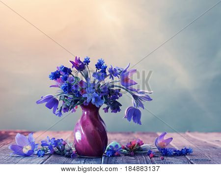 Still life with beautiful blue spring  flowers