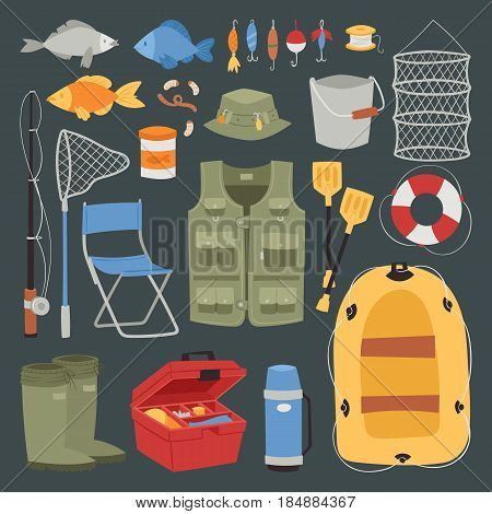 Fishing outdoor vacation fun activity icons set isolated reel hobby design vector illustration. Fisherman summer adventure catch fishery leisure travel tourism equipment.
