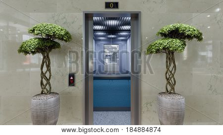 Open and closed chrome metal office building elevator doors concept background