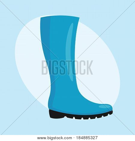 Fashion female boots isolated casual foot blue autumn clothing vector illustration. Clothes glamour legs people beauty elegant footwear fashionable people heels lady lifestyle accessory.