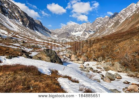 Valley Of Small Brook In Mountains Of Eastern Siberia
