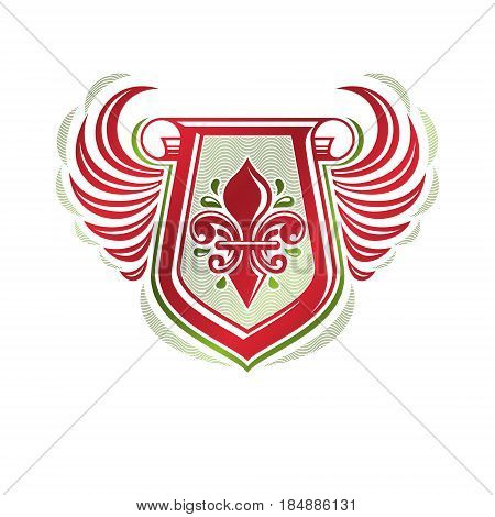 Vintage heraldic emblem created with lily flower royal symbol. Eco friendly product symbol environment protection theme illustration winged shield decorated with cartouche.