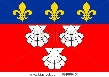 Flag of Aurillac is a French commune capital of the Cantal department in the Auvergne region of south-central France. Vector illustration