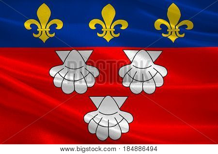 Flag of Aurillac is a French commune capital of the Cantal department in the Auvergne region of south-central France. 3D illustration