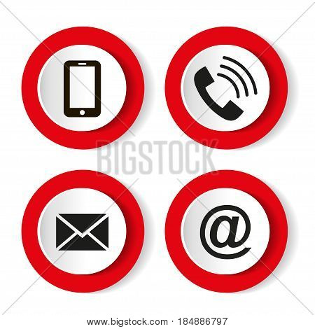 Contact buttons set - email, envelope, phone, mobile icons.  Vector illustration