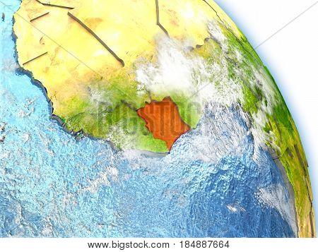 Ivory Coast On Model Of Earth