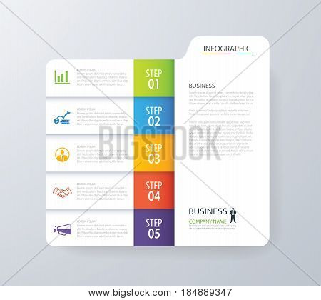 Infographic vertical 5 tab index design vector and marketing template business. Can be used for workflow layout diagram annual report web design. Business concept with options steps or processes.