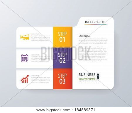 Infographic vertical 3 tab index design vector and marketing template business. Can be used for workflow layout diagram annual report web design. Business concept with options steps or processes.