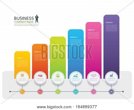 Infographic 6 tab design vector and marketing template business. Can be used for workflow layout diagram annual report web design.