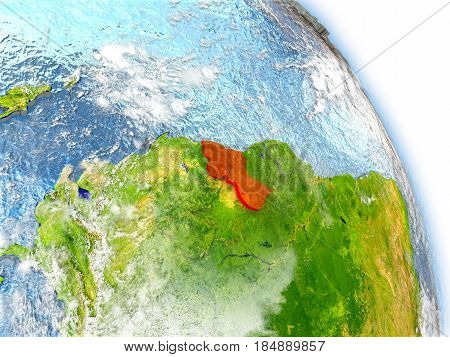 Guyana On Model Of Earth