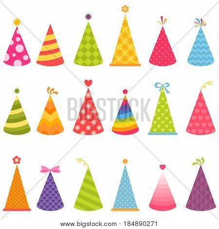 Set of colorful Birthday hats isolated on white