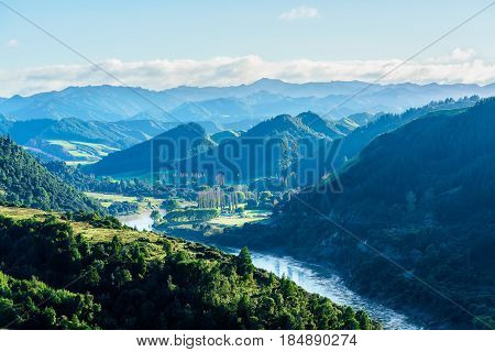 Beautiful scenery of Whanganui river road in National Park in Autumn Whanganui North Island of New Zealand