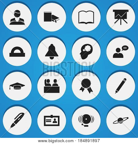 Set Of 16 Editable University Icons. Includes Symbols Such As Semicircle Ruler, Creative Idea, Bookmark And More. Can Be Used For Web, Mobile, UI And Infographic Design.