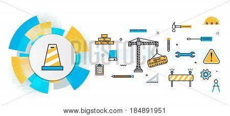 Flat line vector design concept of under construction web page building presentation template banner for website header and landing page in circles digital element linear timeline infographics