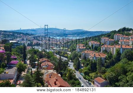 The View From European Shore Of Istanbul To The Bosphorus With The Bosphorus Bridge.