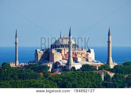 The View Of Hagia Sophia On The Background Of The Marmara Sea, Istanbul