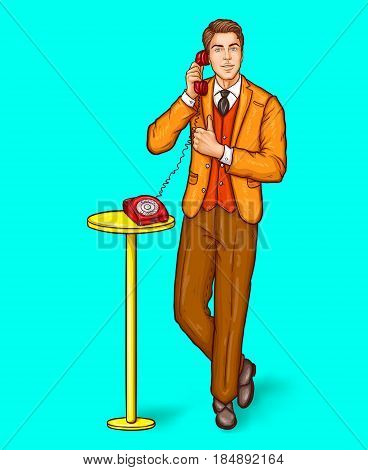 Vector pop art illustration of a man talking on a retro phone and and shows the thumbs up