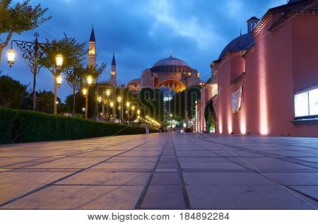 The Night View Of Hagia Sophia From Sultan Ahmet Park, Istanbul