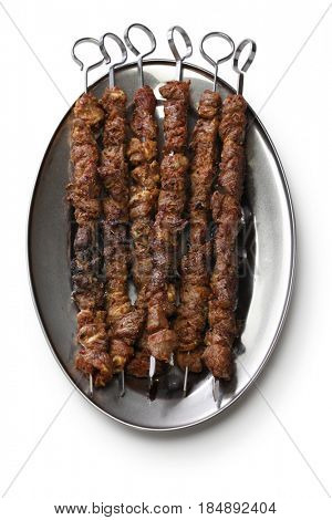 chinese lamb skewers, yang rou chuan isolated on white background