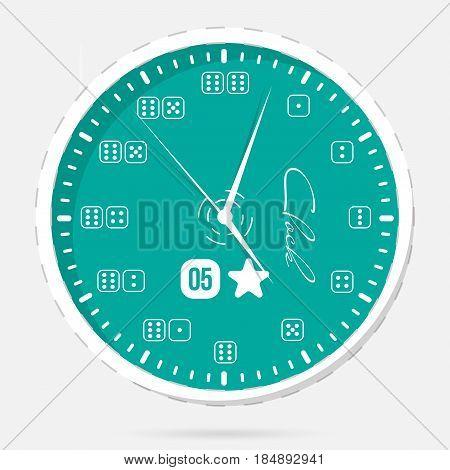Illustration wall clocks. Clock face. Modern dial plate