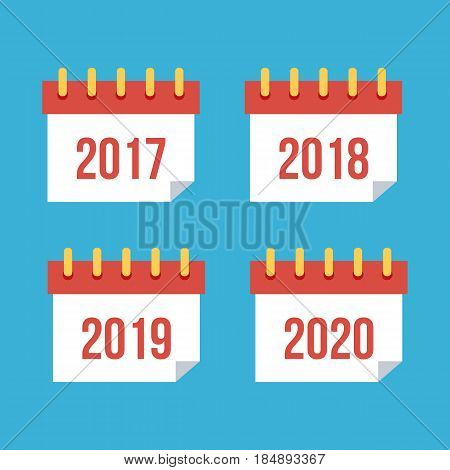 Flat design calendar icons 2017, 2018, 2019, 2020. New year symbol.