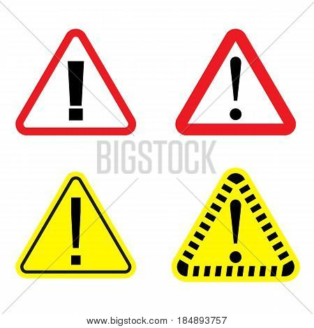 Danger signs set on a white background. Danger icon. Vector illustration.