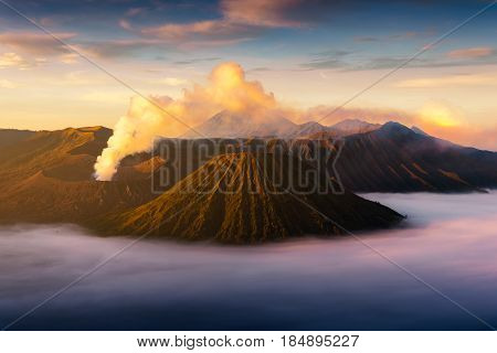 Mount Bromo volcano (Gunung Bromo) during sunrise from viewpoint on Mount Penanjakan. Mount Bromo located in Bromo Tengger Semeru National Park East Java Indonesia bromo mount. Mount Bromo  indonesia. Mount Bromo landscape