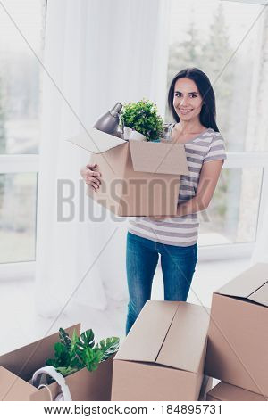 Excited Young Cute Brunette Is Packing Her Stuff At The Boxes To Move To New Place. She Is Happy And