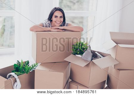 Close Up Portrait Of Nice Smiling Brunette Girl Which Put Her Hands And Head On The Box With Her Stu