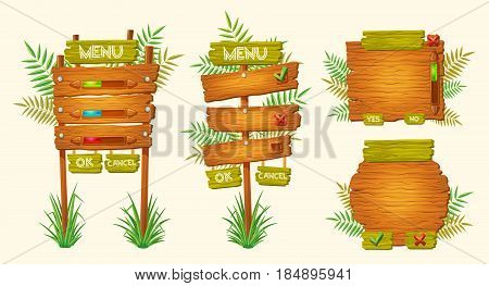 Set of vector cartoon illustrations of wooden signs of various forms standing on the grass. Elements of design for games