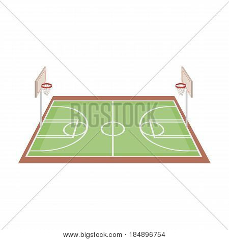 Basketball court. Basketball single icon in cartoon style