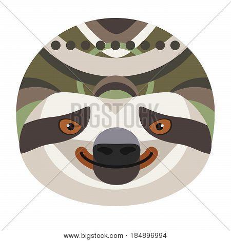Sloth Head Logo. Vector decorative Emblem isolated