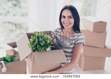 Close Up Portrait Of Young Cute Excited Teen With Box In Her Hands. She Has Packed Her Stuff To Move