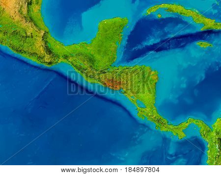 El Salvador On Physical Map