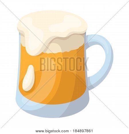A glass of foamy Belgian beer in cartoon style