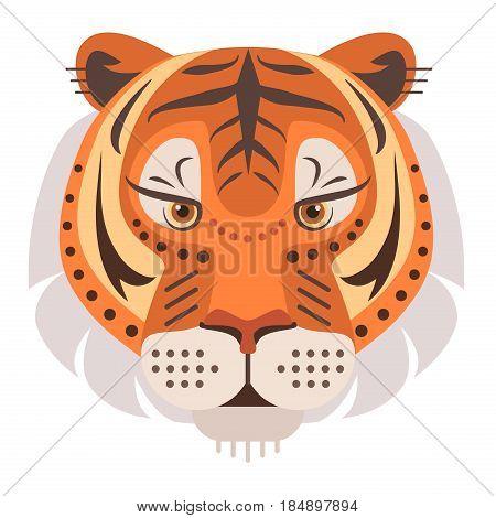 Tiger Head Logo. Vector decorative Emblem isolated