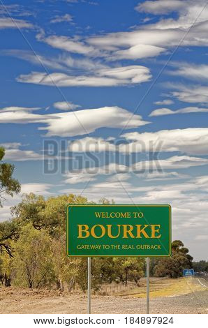 Welcome to Bourke gateway to the outback sign