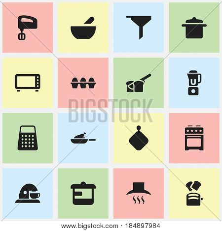 Set Of 16 Editable Meal Icons. Includes Symbols Such As Grill, Bakery, Agitator And More. Can Be Used For Web, Mobile, UI And Infographic Design.