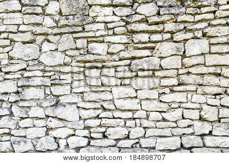 White irregular brick wall texture or background.